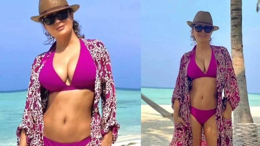 """Estrela do filme """"Frida"""", Salma Hayek posta cliques de biquíni e fãs apontam Photoshop"""