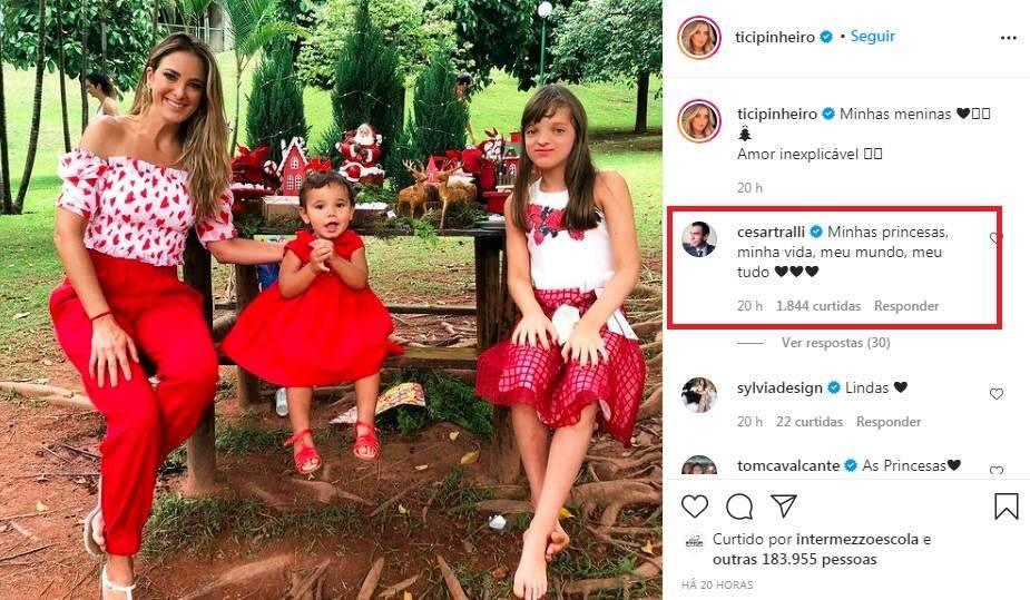 Em clima natalino Ticiane Pinheiro posa ao lado das filhas e César Tralli se declara. (Foto: Reprodução/Instagram)