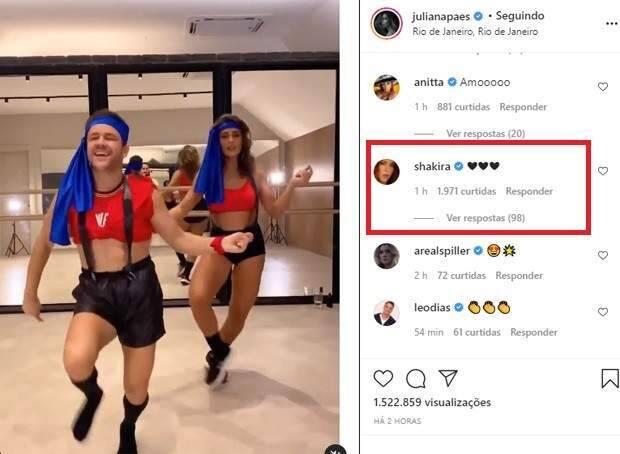 Juliana Paes faz homenagem à Shakira com look e coreografia do novo clipe da cantora