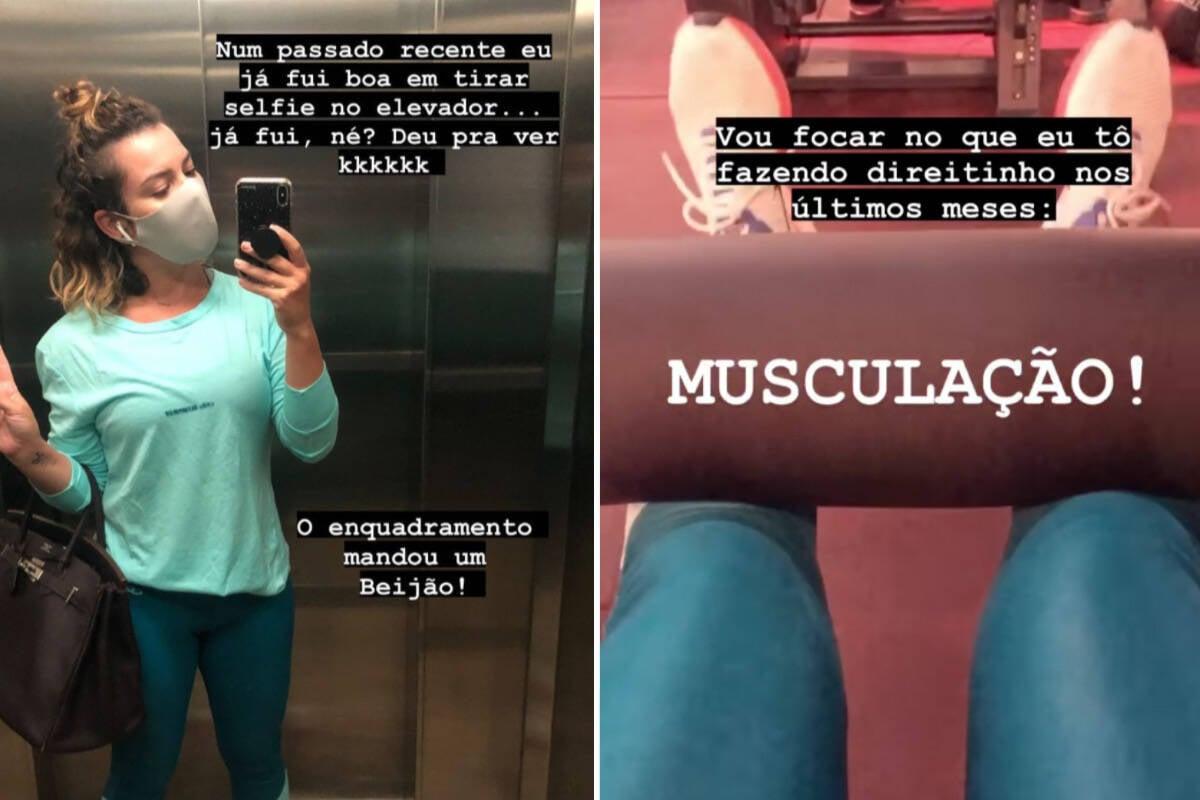 "Fernanda Souza posta treino na academia e fala que ficou com a ""perna bamba"""