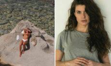 Mariana Goldfarb posa topless e chama a atenção de Alinne Moraes