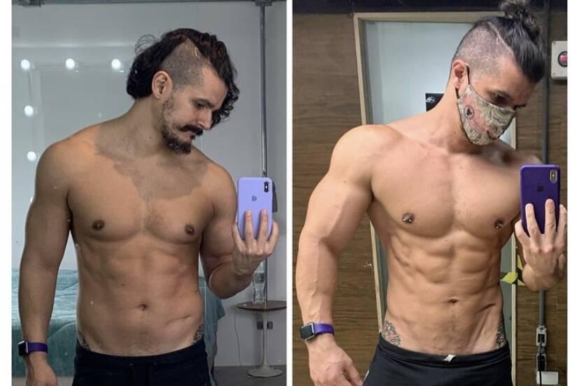 """Bruno Lopes, marido de Priscila Fantin, mostra antes e depois de perder peso: """"Não me reconhecia mais"""""""