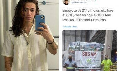 Whindersson Nunes manda mais 217 cilindros de oxigênios a Manaus