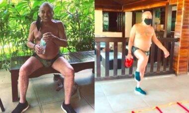 """Stênio Garcia surge se exercitando e desabafa sobre isolamento: """"tentando me manter ativo"""""""