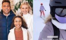 """Celina Locks exibe filha do namorado Ronaldo esquiando na Espanha: """"toda estilosa"""""""