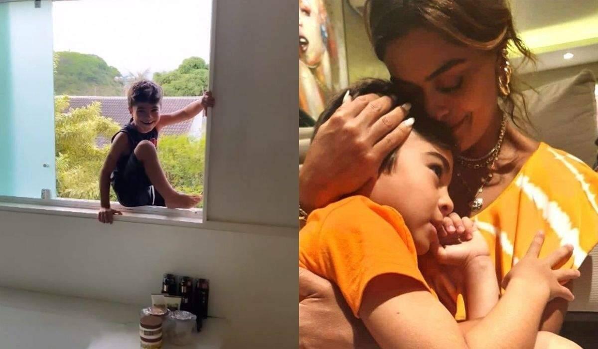 """Juliana Paes se espanta ao ver filho sentado na janela: """"por que você é tão pestinha?"""""""