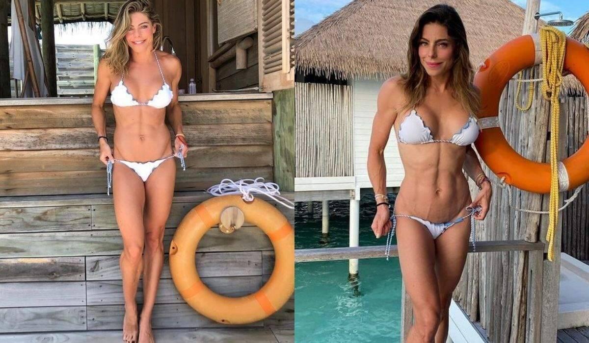 """Daniella Cicarelli faz antes e depois durante viagem à Maldivas: """"mesmo lugar, mesmo biquíni"""""""