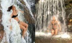 Camila Pitanga posa em foto curtindo banho de cachoeira
