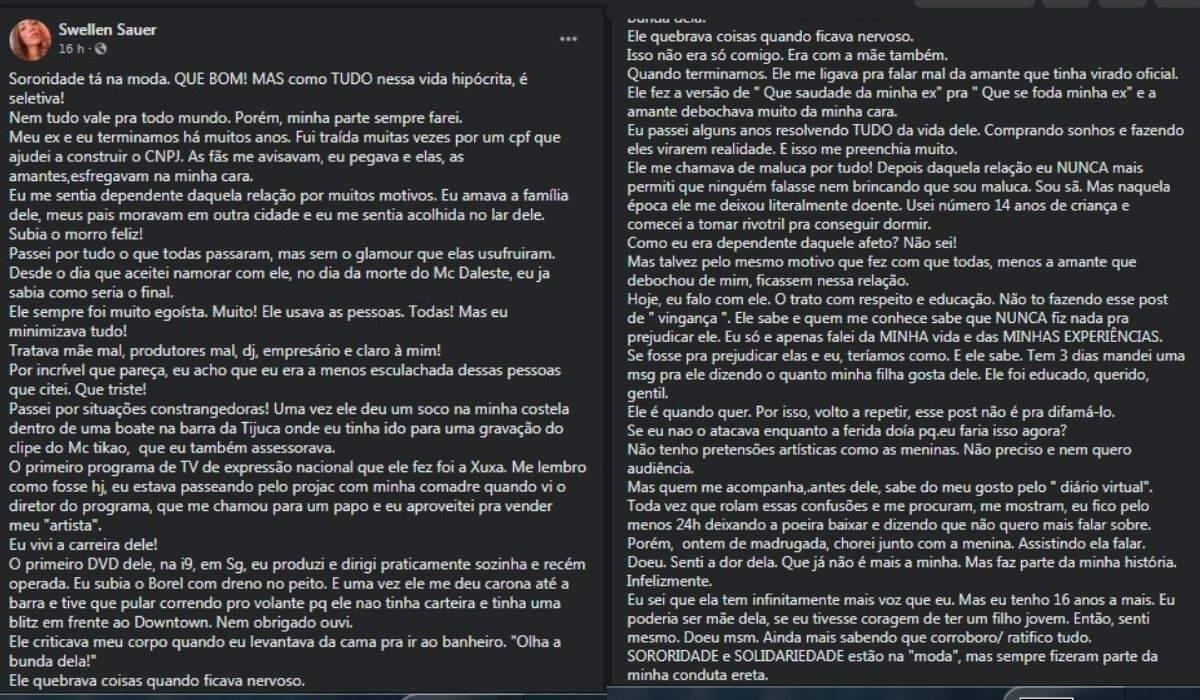 """Ex que acusou Nego do Borel de agressão apoia Duda Reis: """"todo meu respeito e solidariedade"""". (Foto: Reprodução/Instagram)"""