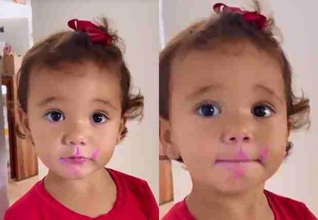 Filha de Tici Pinheiro e Cesar Tralli encanta a web com fofura após passar batom da mãe (Foto: Reprodução/Instagram)