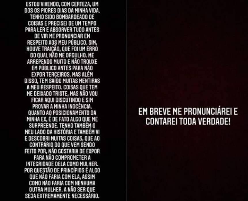 """Nego do Borel se pronuncia e admite que traiu Duda Reis: """"vivendo um dos piores dias da minha vida"""". (Foto: Reprodução/Instagram)"""