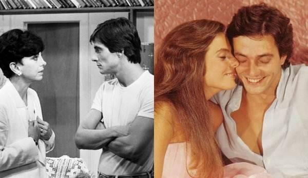 Fábio Jr. em cena com Beatriz Segall e Bruna Lombardi nas novelas 'Água Viva' e 'Louco Amor', respectivamente — Foto: Globo