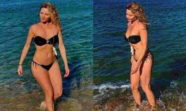 Aos 49 anos, Rita Guedes exibe as curvas em clique de biquíni curtindo uma praia