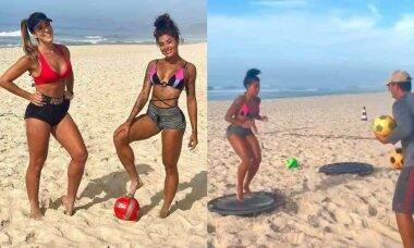 Aline Riscado exibe habilidade no futebol ao se exercitar na praia