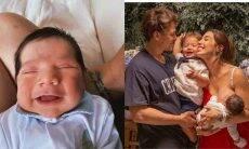 Gabi Brandt posta clique do rosto do filho recém nascido Henri: 'meu amorzinho'