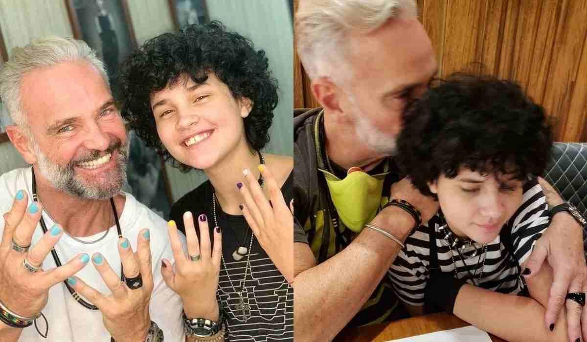 """Mateus Carrieri posa com a filha e exibe unhas pintadas: """"que comece o mimimi"""""""