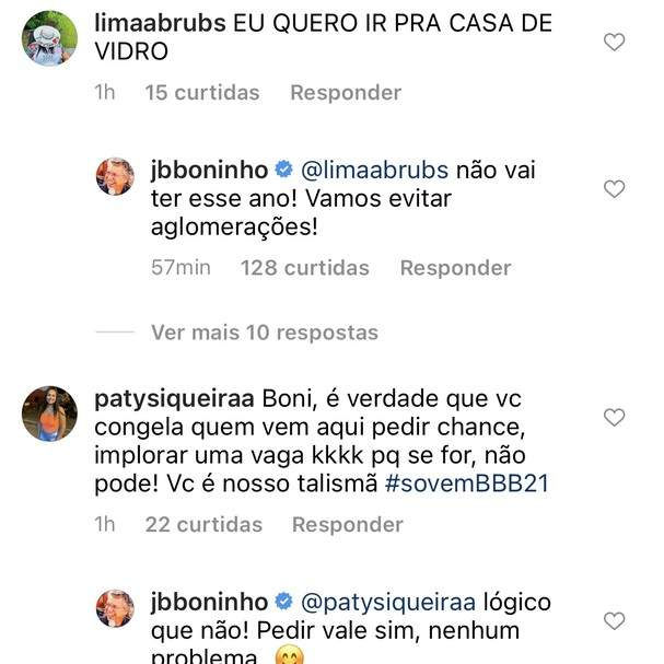 """Ao responder fãs, Boninho revela que time do BBB 21 não está completo: """"falta uns 6"""". (Foto: Reprodução/Instagram)"""