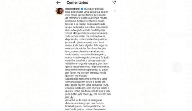 """Nego do Borel nega mensagens com mulher que teria sido enviado à Duda: """"me deixando em depressão"""". (Foto: Reprodução/Instagram)"""