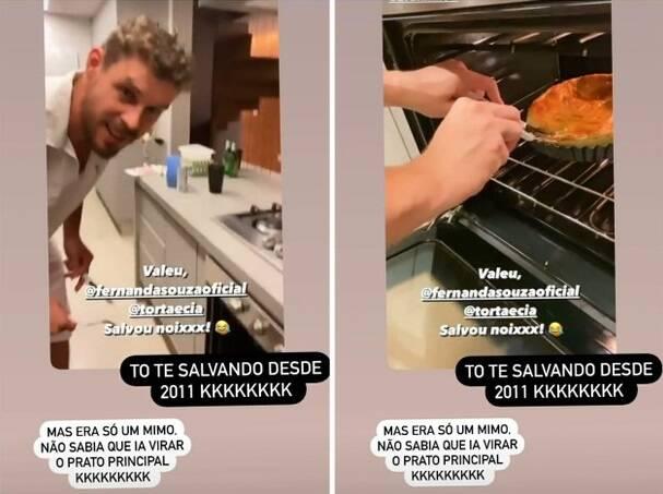 """Em companhia de Bruninho, Thiaguinho agradece Fernanda Souza por """"salvar"""" seu ano novo. (Foto: Reprodução/Instagram)"""