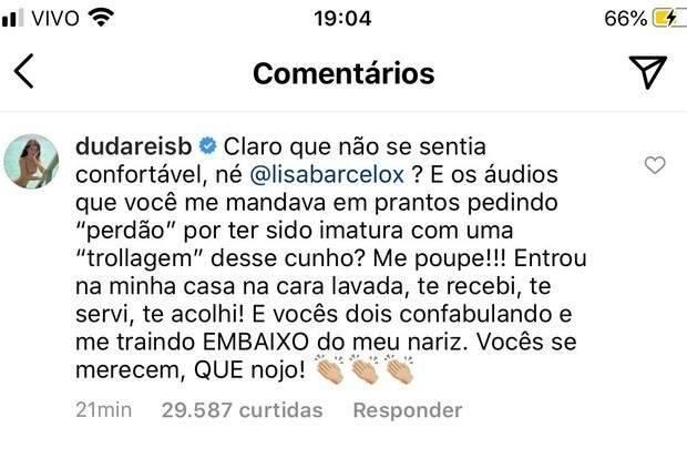"""Após Lisa Barcelos admitir caso com Nego do Borel Duda Reis fala sobre traição: """"vocês se merecem, que nojo"""". (Foto: Reprodução/Instagram)"""