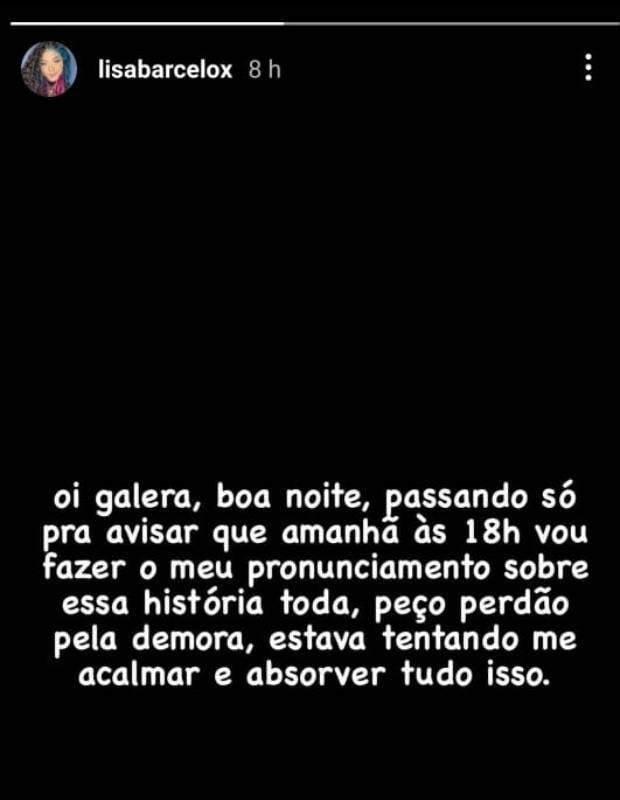Após Duda denunciar Borel por estupro, Lisa Barcelos, pivô da separação, se pronuncia. (Foto: Reprodução/Instagram)