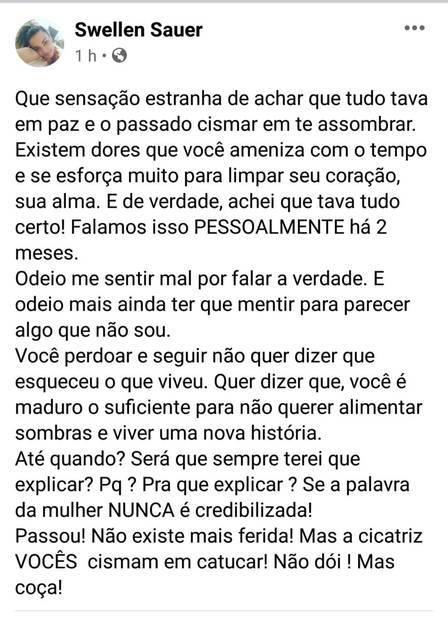 """Ex que acusou Nego do Borel de agressão apoia Duda Reis: """"todo meu respeito e solidariedade"""". (Foto: Reprodução/Facebook)"""