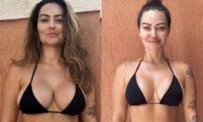 Após gravidez, Laura Keller perde 14 quilos e mostra antes e depois