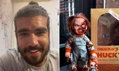 """Caio Castro compra bonecos do 'Chucky' após perder medo: """"Novo e melhorado"""""""