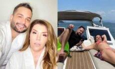 """Cantora Simony posa curtindo passeio de lancha com o namorado: """"vivendo nosso amor em paz"""""""