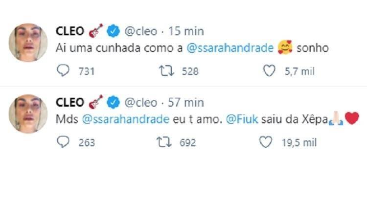 Cleo Pires revela que Sarah do BBB 21 seria 'cunhada dos sonhos' (Foto: Reprodução/Globo)