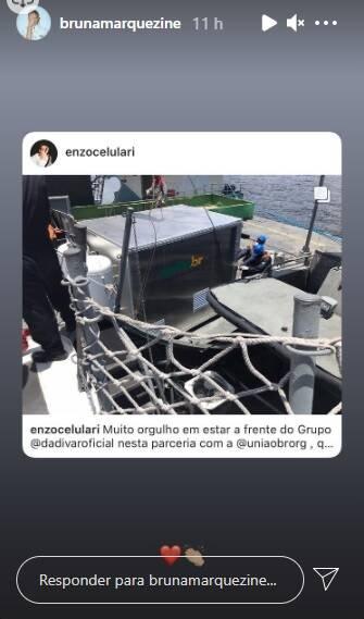 Novo casal? Em meio a boatos de romance, Bruna Marquezine posta foto de Enzo Celulari (Foto: Reprodução/Globo)