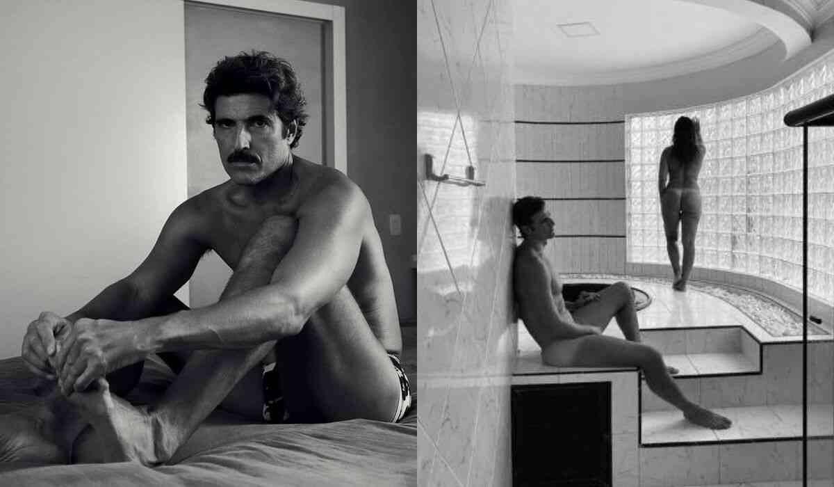 Reynaldo Gianecchini posa nu em clique com uma amiga