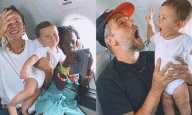 """Giovanna Ewbank diverte os fãs ao mostrar perrengues de viajar com os três filhos: """"família buscapé"""""""