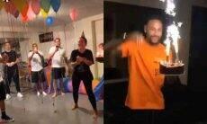 Neymar ganha festa surpresa de Carol Dantas e amigos