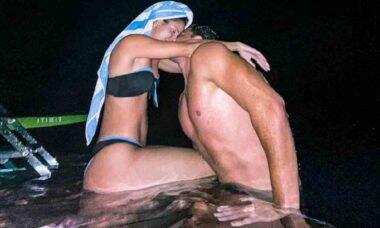 """Wesley Safadão troca beijos com Thyane Dantas sob a luz do luar: """"eu e ela"""""""
