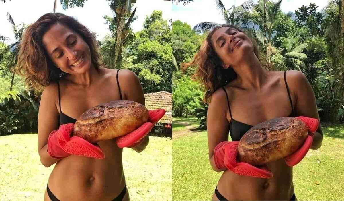 """Camila Pitanga posa exibindo pão caseiro feito por ela: """"tá quentinho"""""""