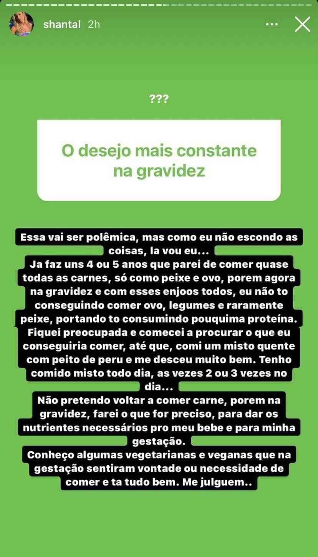 """Grávida, Shantal revela que voltou a comer carne: """"me julguem"""" (Foto: Reprodução/Instagram)"""