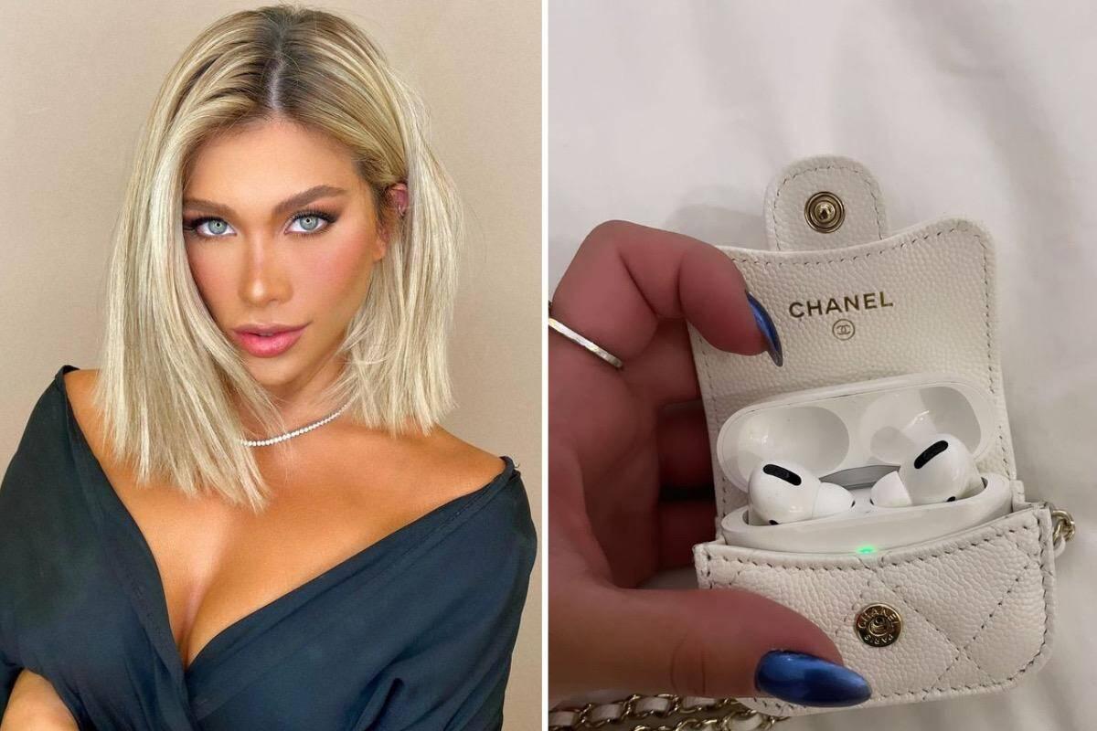 Flavia Pavanelli ostenta capinha de fones de ouvido grifada de R$ 5,1 mil
