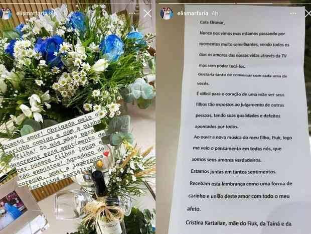 """Mãe de Fiuk presenteia mãe de Thais do BBB 21 com buquê de flores: """"estamos juntas"""" (Foto: Reprodução/Instagram)"""