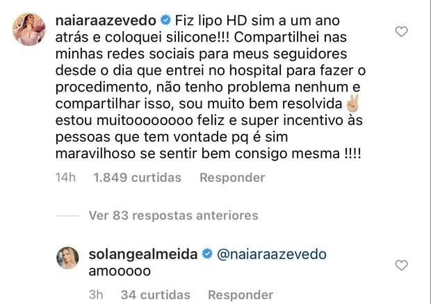 """Naiara Azevedo rebate críticas sobre o corpo e barriga 'comprada': """"sou muito bem resolvida"""" (Foto: Reprodução/Instagram)"""