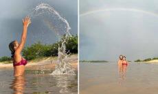 Lais Ribeiro posta cliques tomando banho de rio no Piauí