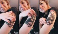 """Tatuadora chama atenção ao mostrar """"bolha de tinta"""" no braço. Foto: Reprodução TikTok"""