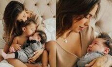 Gabi Brandt posa com os filhos para celebrar o Dia das Mulheres