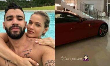 Volta do casal? Andressa Suita exibe Ferrari na sala da mansão de Gusttavo Lima
