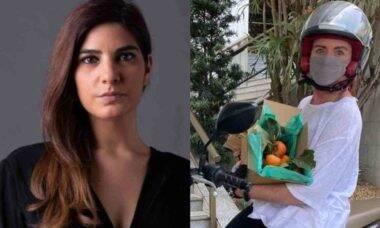 Desejo de grávida! Leilane Neubarth leva caquis para Andréia Sadi