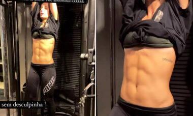 """Bruna Griphao exibe tanquinho em dia de treino: """"Sem desculpinha"""""""