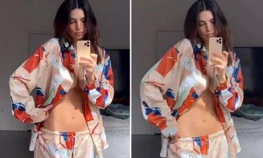 Emily Ratajkowski exibe barriga sarada 11 dias após parto