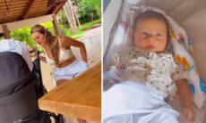 """Lorena Carvalho luta contra o sono para fazer o filho dormir: """"A mãe tá off"""""""