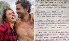 """Rafa Brites mostra carta que recebeu de Felipe Andreoli: """"2 dias depois que ficamos pela primeira vez"""""""