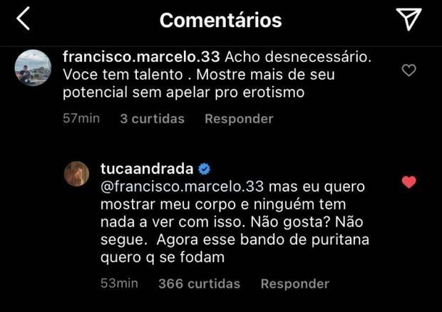 """Tuca Andrade posta foto ousada e rebate críticas: """"não gosta? não segue"""" (Foto: Reprodução/Instagram)"""